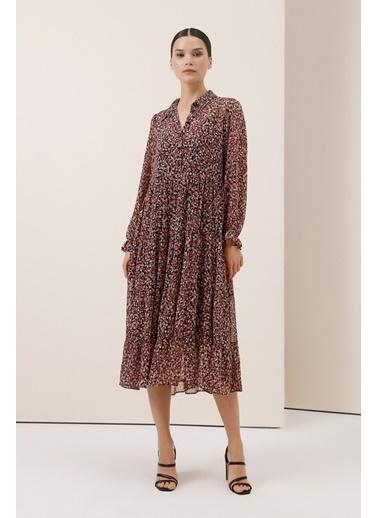 Gusto Çiçek Desenli Uzun Elbise - Pudra Çiçek Desenli Uzun Elbise - Pudra Pudra